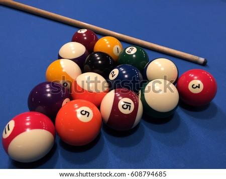 American Billiards Pool Background Colorful Balls Stock Photo Edit - Us billiards pool table