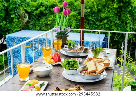 American break fast outdoor with nature background