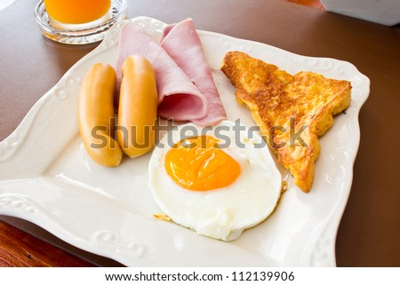 american breakfast in the morning - stock photo