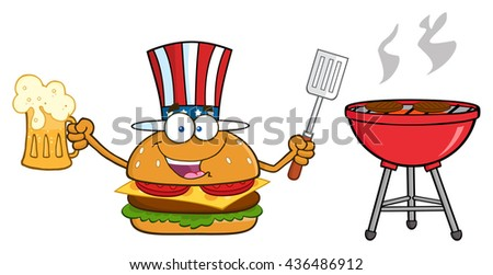 American Burger Cartoon Mascot Character Holding A Beer And Bbq Slotted Spatula By A Grill. Raster Illustration Isolated On White Background - stock photo