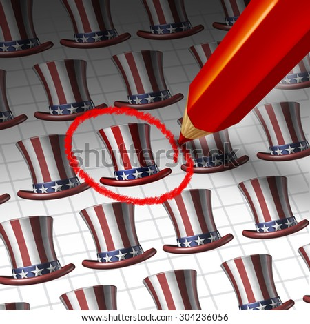 American candidate choice concept and United States election symbol as a red pencil selecting a political party hopeful as an icon for presidential democratic campaign by the voters. - stock photo