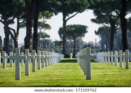 American Cemetery in Italy - stock photo