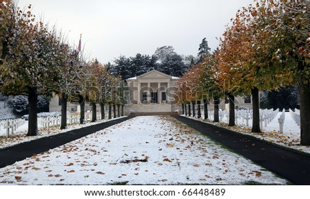 American cemetery near Paris:american war cemetery in Suresnes, France (Mont Valerien). On one side of cemetery for soldiers from first world war and on the other side, soldiers from second world war. - stock photo