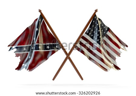 American civil war and merorial day concept, usa and confederate tattered flags isolated on white background - stock photo