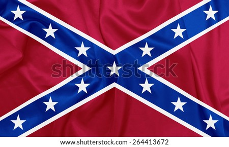 American Civil war - The Second Confederate Navy Jack, 1863�1865 waving flag with silk texture