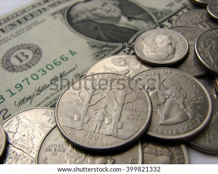 American coins and one dollar, Vermont state, money, super macro mode - stock photo