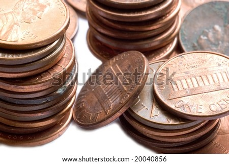 american coins on a white background