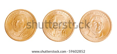 american coins with presidents on white background - stock photo