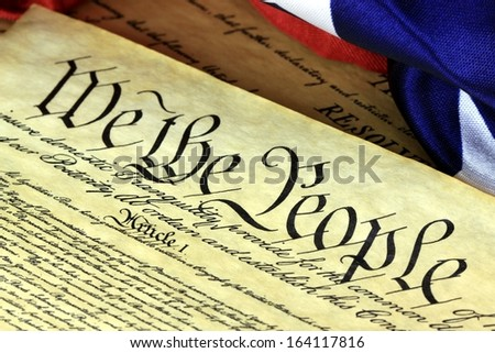 American Constitution and US Flag - stock photo