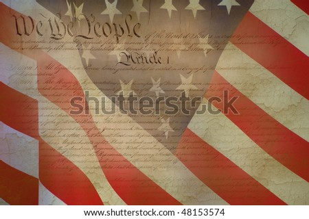 American Constitution with USA Flag. - stock photo