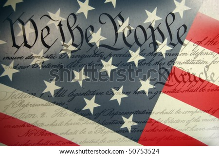 American Constitution with USA Flag.