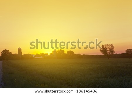 American Country On Dusk - stock photo