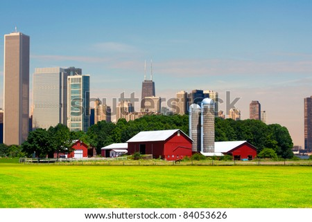 American Country with Big City in Background - stock photo