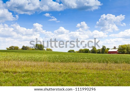 American Countryside Landscape With Farm