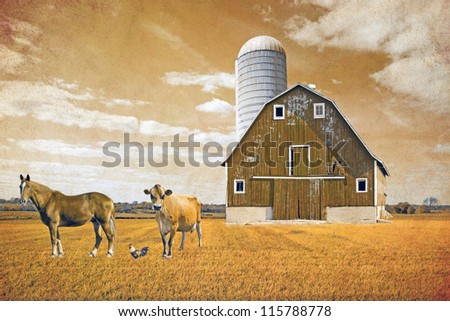 American Countryside Vintage Poster