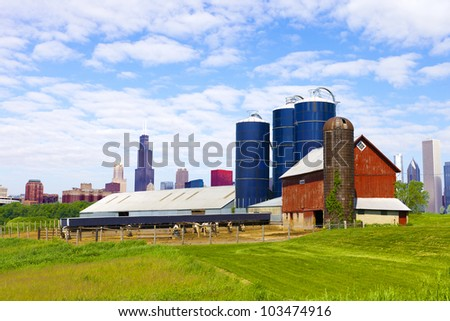 American Countryside With City in Background - stock photo