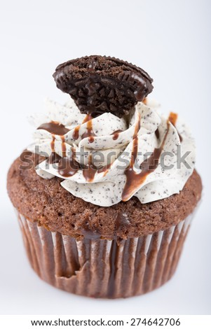 American cupcake, cookie taste, on white