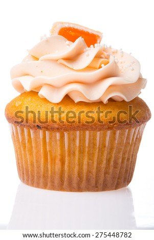 American cupcake, orange taste, on white