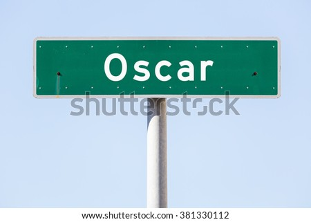 American custom street name sign with an individual text - stock photo