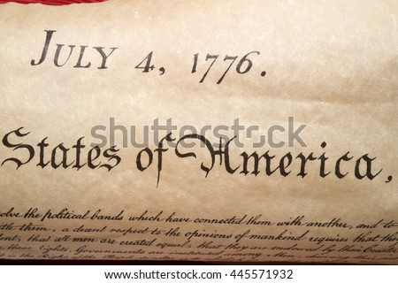 American Declaration of independence 4th july 1776 detail - stock photo