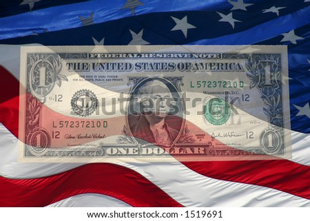 american dollar and flag - stock photo