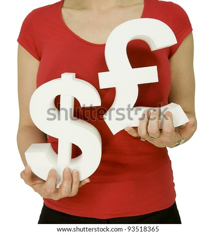 american dollar versus english pound, woman holding currency symbols