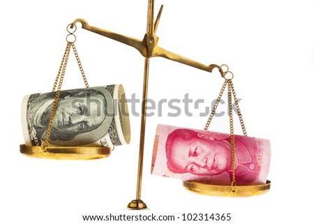 american dollars and chinese yuan currency on a scale