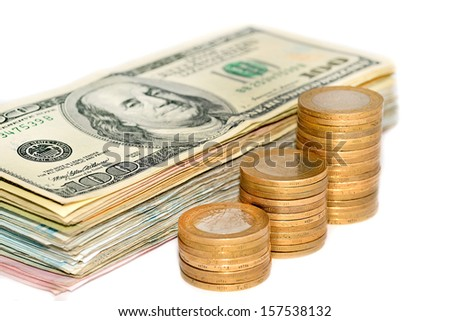 american dollars and coins on the isolated background  - stock photo