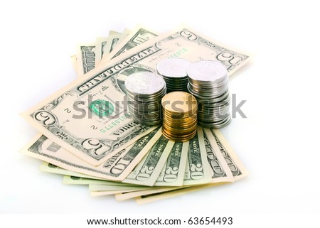 American dollars and Ukrainian coins isolated on white