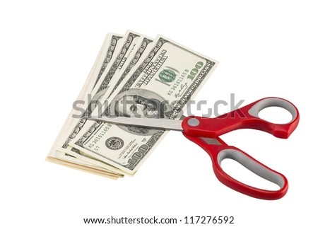 american dollars with scissors (with clipping path)