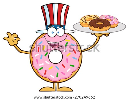 American Donut Cartoon Character Serving Donuts. Raster Illustration Isolated On White - stock photo