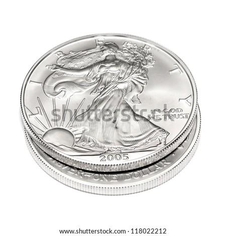 American Eagle Silver Dollar Coin - stock photo