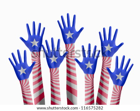 American elections hand raising for vote