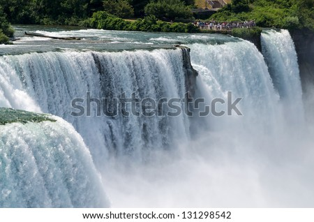 American Falls and Bridal Veil Falls - stock photo