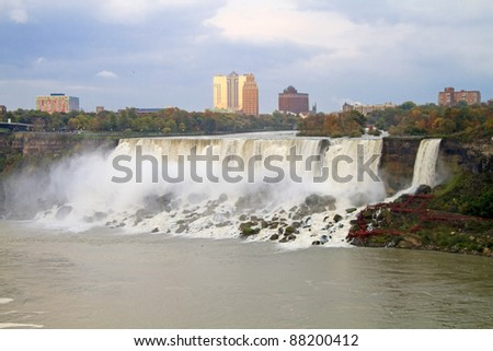 American Falls in Early Evening -  View from Niagara Falls, Ontario Canada - stock photo