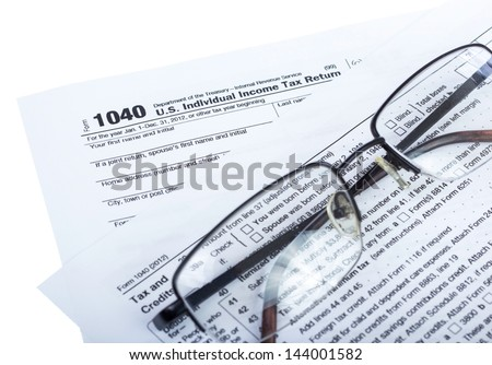 American federal tax form 1040 isolated on white.