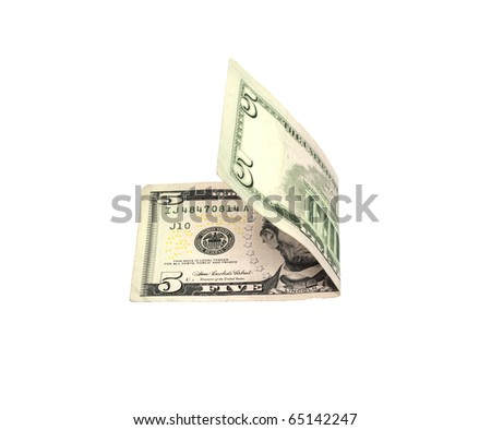 American five dollar banknote isolated over white - stock photo