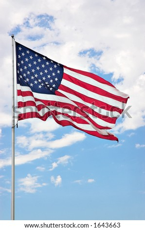 American flag against clouds - stock photo