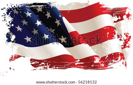 American flag. All elements and textures are individual objects. Vector illustration scale to any size. - stock photo