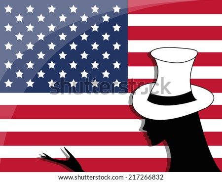 American flag and a girl - the celebration of Independence Day - stock photo