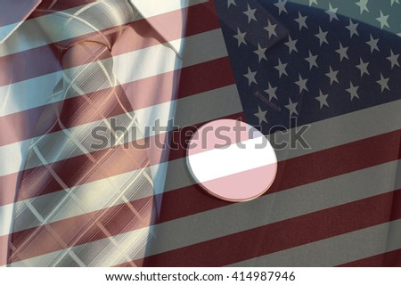 American flag and Businessman in Suit with blank badges,  concept of American election - stock photo