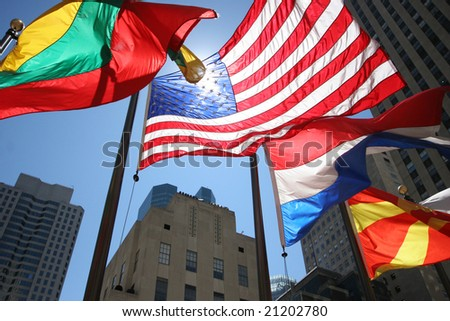 American Flag and other national flags - stock photo