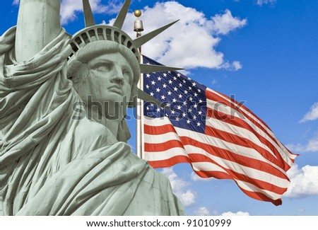 American Flag, and Statue of liberty - stock photo