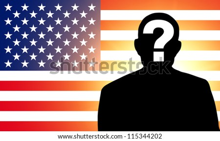 American flag and the silhouette of an unknown man