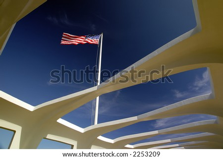 American flag as seen inside the U.S.S. Arizona Memorial in Pearl Harbor, Hawaii