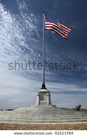 American Flag at an American National Military Cemetery - stock photo