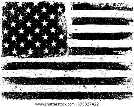 American Flag Background. Grunge Aged Vector Template. Horizontal orientation. Monochrome gamut. Black and white. Raster version. - stock photo