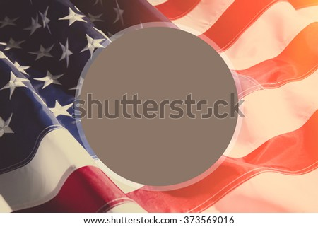 American flag background with sunlight and space for your text - stock photo
