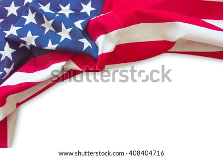 American flag border isolated on white background - stock photo
