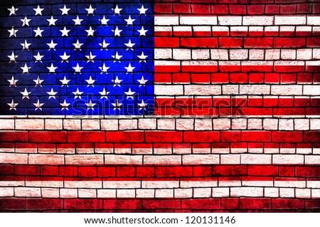 American Flag brick wall background - stock photo
